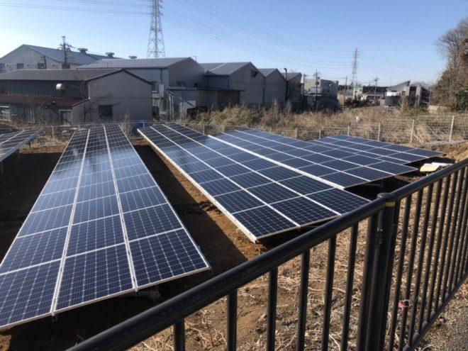 伊奈町太陽光発電所の全景写真